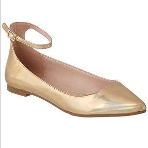 BCBGeneration Malinda Gold Ankle Strap Flats
